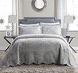 VCNY Home | Westland Collection | Weiche & plüschige Gesteppte Tagesdecke aus Kunstnerz, Premium 3-teiliges Bettwäsche-Set, Elegantes & charmantes Design für Heimdekoration, Kingsize, Grau