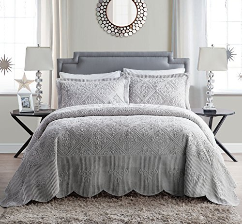 VCNY Home | Westland Collection | Soft and Plush Quilted Faux Mink Fur Bedspread, Premium 3 Piece Bedding Set, Elegant and Charming Design for Home Décor, King, Grey