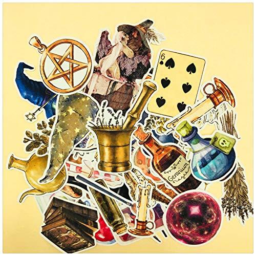 BLOUR 38 Piezas Retro poción mágica Vintage Poker Hongo Bruja Calavera Pegatina para el Diario Scrapbooking Ablum Etiqueta Adhesivos papelería