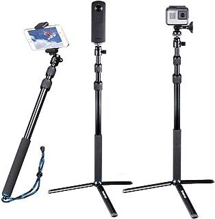 Smatree DC Palo Selfie Stick Telescópico con Trípode para GoPro Hero 2018 Hero 7/6/5/4/3+/3/2/1/Fusion/Session Cámaras Compactas (Rosca de 1/4) Teléfonos Celulares