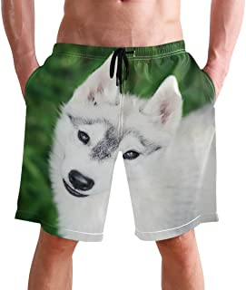 FFY Go Beach Shorts, Cute Dog of Siberian Husky Printed Mens Trunks Swim Short Quick Dry with Pockets for Summer Surfing B...