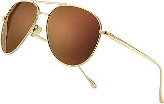 Women's Lightweight Oversized Aviator Sunglasses - Mirrored Polarized Lens