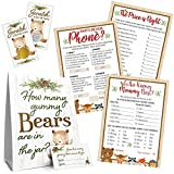 Woodland Baby Shower Games for Virtual or Snail Mail Party for 20 Guests (5 Game Set)