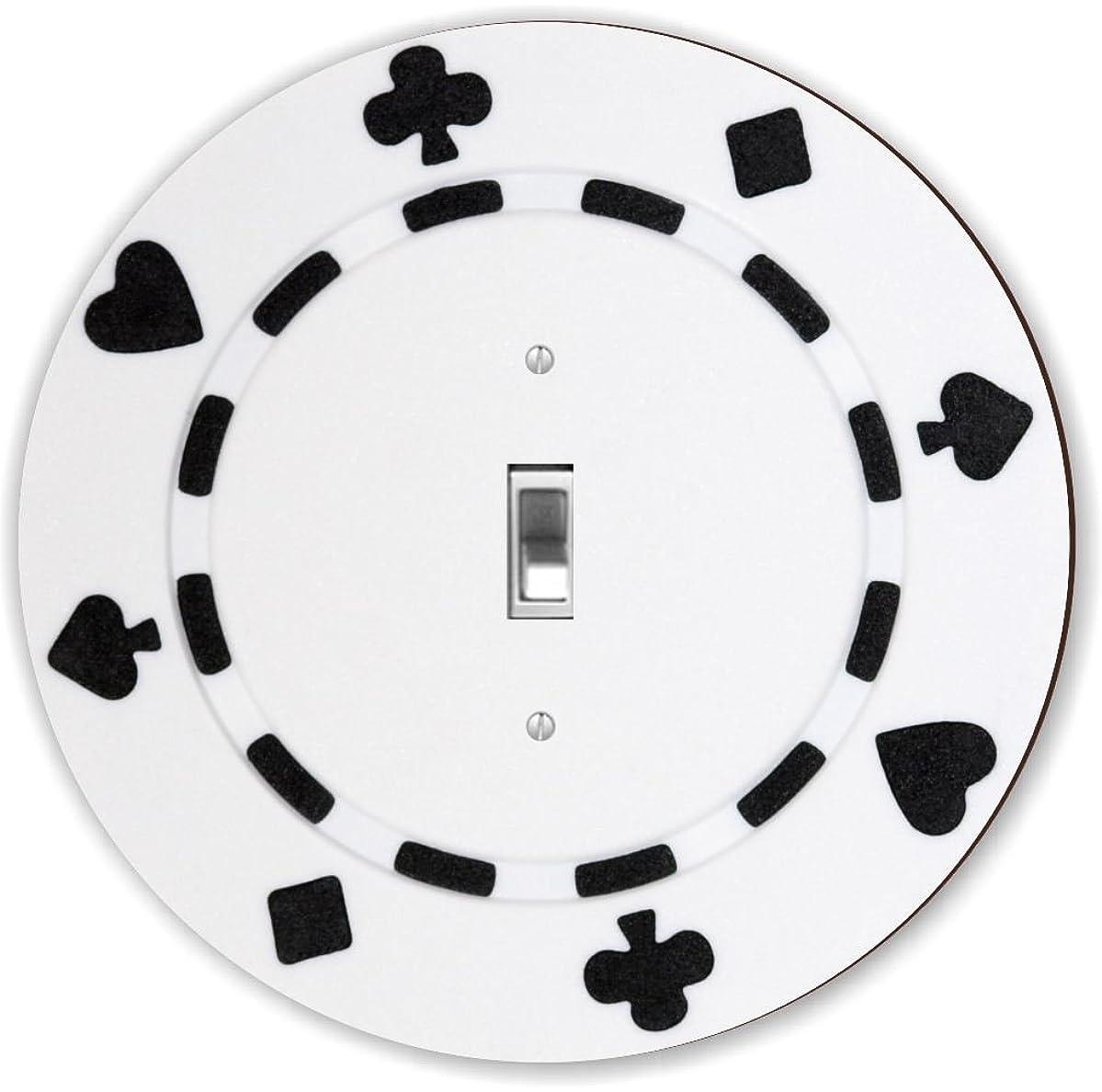 Rikki Knight RND-LSPS-84 Poker Chip Round - Single Toggle Light Switch Plate, White/Black