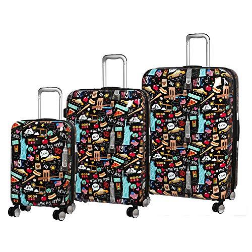 it luggage Sheen Hardside Expandable 3 Piece Set, Black New York Fun Icons Print