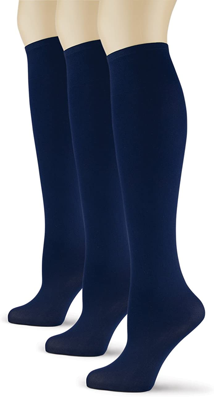 Sox Trot Women's Solid Knee High Trouser Socks, Silky Soft Thin Material, Tall Boot Socks 3 Pairs