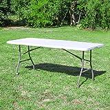 SKYLANTERN Lot de 5 Tables de Jardin Pliantes 180 cm Rectangulaire Blanche - Table de Camping 8 Personnes L180 x l74 x H74cm en...