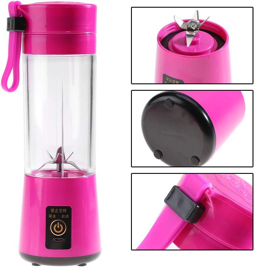 NCONCO 350-400ML Exprimidor portátil USB recargable para zumo de frutas plactic y licuadora para el hogar, viajes (rosa) verde Rosy.