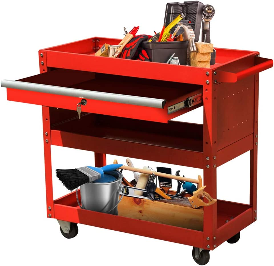 Rolling 3-Tier Big Tool Storage Cart with Lockable Sliding Drawer 4-Wheel Tool Service Utility Cart/&Tool Chest for Garage High Capacity Tool Cart Black Warehouse