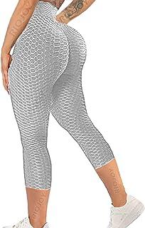 RIOJOY Bubble Capri 3/4 långa leggings för kvinnor anti-celluliter hög midja rumplyft beskurna gymleggings