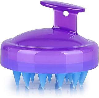 Hair Scalp Massager, Original Soft Silicone Shampoo Brush Head Tourmaline Contained (Purple)