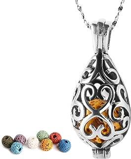 Maromalife Lava Stone Diffuser Necklace, Teardrop Diffuser Necklace Essential Oil Aromatherapy Necklace 316L Stainless Steel Necklace with 8 Lava Stone