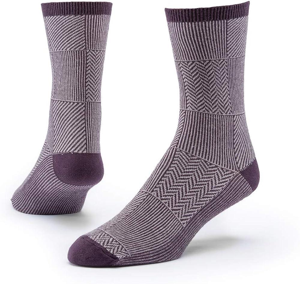 Maggie's Organics - Organic Cotton Trouser Socks Pattern - 1 Pair Unisex (Patchwork Eggplant-Medium)