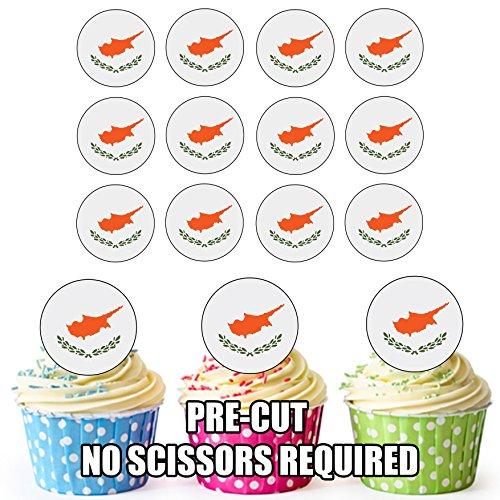 Cyprus Vlag - 24 Eetbare Cupcake Toppers/Verjaardag Cake Decoraties - Easy Precut Circles