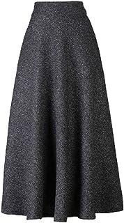 Choies Women's High Waist A-line Flared Long Skirt Winter Fall Midi Skirt