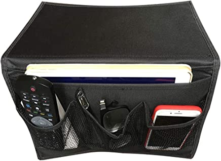 Bedside Storage Organizer Caddy Hanging Bag with 4 Pockets for Books, Magazines and Remote Control (Black)