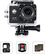 4K Action Camera, Yimaler HD 1080P WiFi Waterproof Mini Sport Cam 2 Inch LCD Screen 16MP Remote Control 100 Feet 170 Degree Wide Angle 2 Rechargeable 1050mAh Battery Free Travel Bag Black