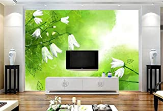 WSTDSM Custom Mural-3D White Lily of The Valley Wallpaper for Walls-3D Art Green Fresh Wall -Living Room Home Decor TV Wall-400cm(W) x250cm(H)(13'1