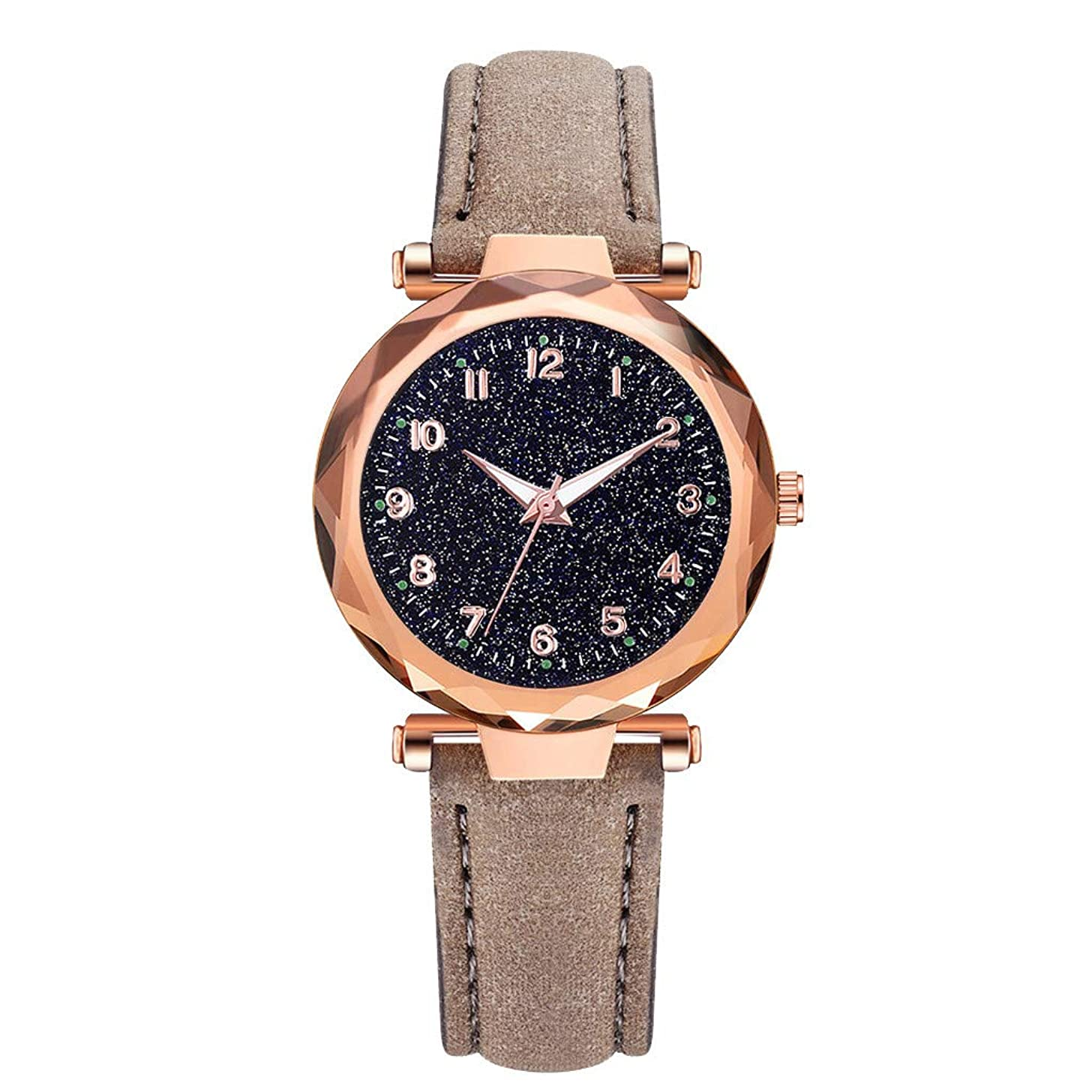 LUCAMORE Womens Luxury Analog Luminous Watches Quartz Wristwatch Starry Sky Dial With Leather Strap Casual Watch Jewelry Gift