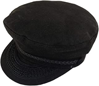 Black Wool Greek Fisherman Cap With Braid Trim & Embroidery Accents