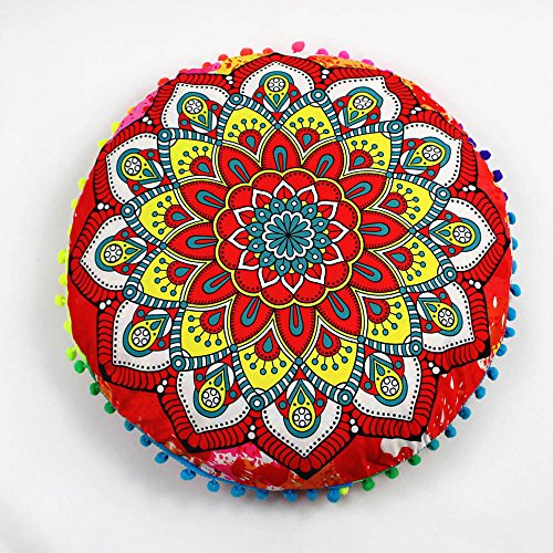 Sylar Almohadas de Piso de Mandala Indio, cojín Redondo Bohemio, Funda de Almohada, Cojines, Funda de Almohada,Decoración del Hogar Fundas De Colchón