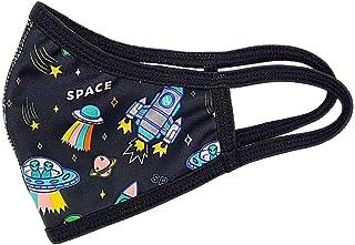 Mascarilla higiénica para niños de tela, reutilizable, lavable con estampado de cohetes y galaxias, unisex, talla niños