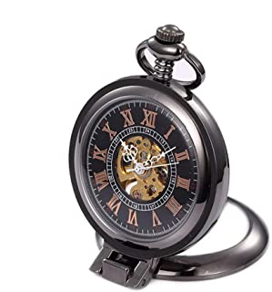 LZJJ Black Pocket Watch Classic Vintage Alloy Men 'S Movimiento mecánico Flip Pocket Watch