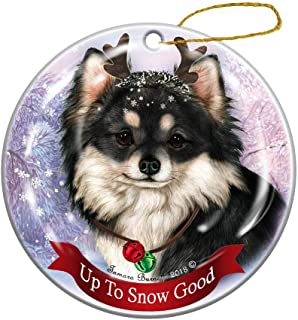 Holiday Pet Gifts Black White Long Haired Chihuahua Dog Porcelain Christmas Ornament