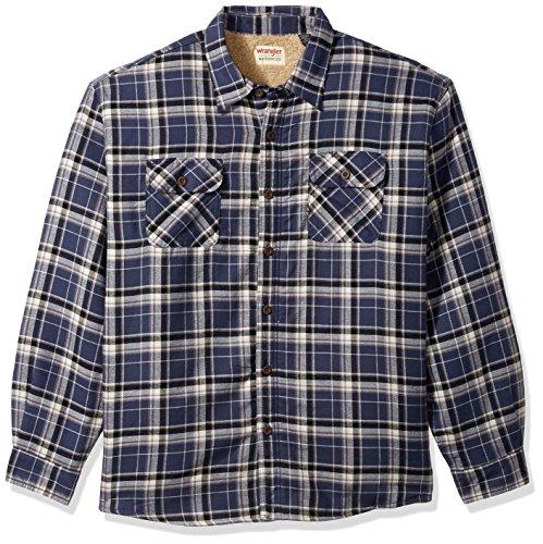 Wrangler Authentics Men's Long Sleeve Sherpa Lined Shirt Jacket, Mood Indigo, 3X-Large