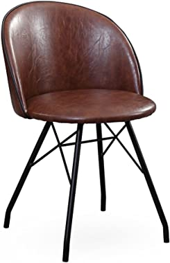 Tov Furniture The Branson Collection Mid-Century Modern Leather Style Upholstery with Steel Legs 360 Degree Swivel Desk Chair, Brown