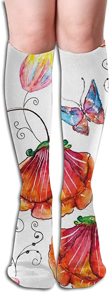 Men's and Women's Funny Casual Combed Cotton Socks,Flowers with Swirled Branches Butterflies in Watercolors Artistic Botanical Summer