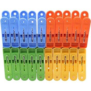 Pinces suspendues 24Pcs Linge /à Linge /Épingles Pinces suspendues Clips Cintres en Plastique Racks Pinces /à Linge M/énage et organisateurs