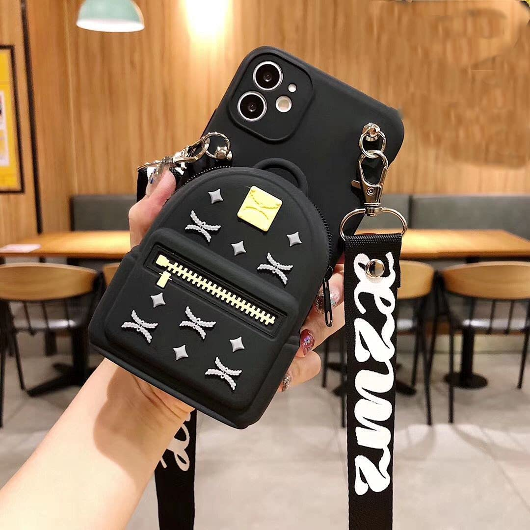 ISYSUII Cute Cartoon Case for Samsung Galaxy A32 5G Backpack Design Kawaii Girls Women Teens Soft Silicone Shockproof Rubber Cover Crossbody Wallet Card Holder Case with Kickstand,Black