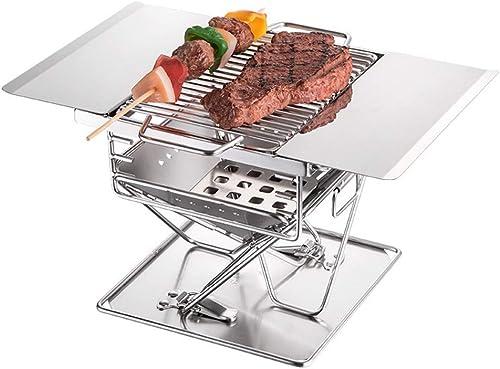 GYFHMY Barbecue de Charbon de Bois Pliant en Acier Inoxydable, délicat et Compact, équipeHommest de Cuisson pour Le Sac à Dos, adapté aux Pique-niques en Plein air, avec Sac de Transport