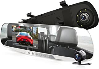 """Dash Cam Rearview Mirror Monitor - 4.3"""" DVR Rear View Dual Camera Video Recording System in Full HD 1080p w/ Built in G-Sensor Motion Detect Parking Control Loop Record Support - Pyle PLCMDVR46"""