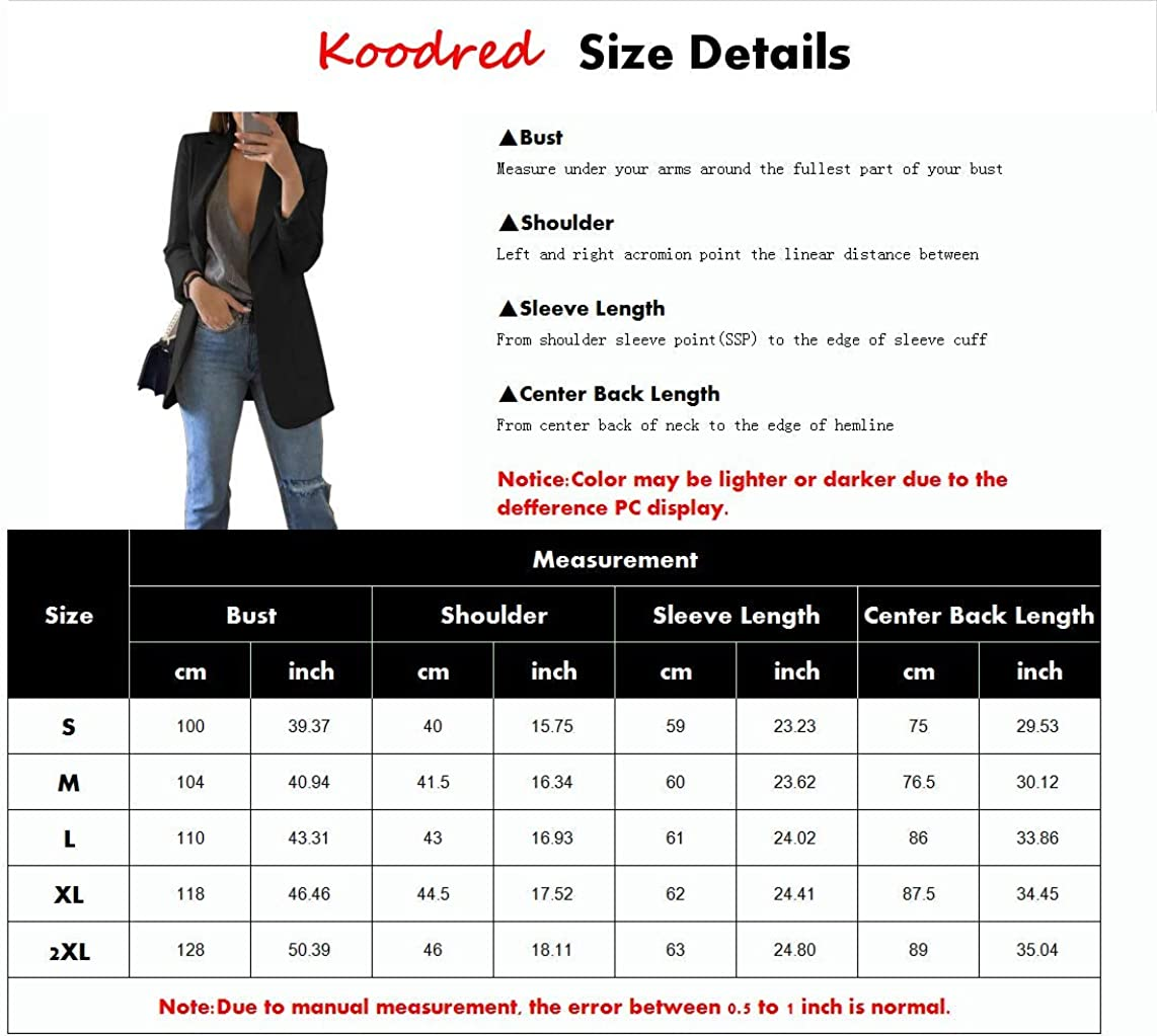 Koodred Womens Casual Work Office Open Front Long Sleeve Lightweight Loose Fit Blazer Jacket Cardigan Suit