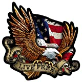 Built USA American Bald Eagle Live Free Decal | Waterproof Permanent Patriotic American Flag Car Motorcycle Bicycle Skateboard Laptop Luggage Bumper Vinyl Decal | Size: 6 Inches | 5 Pack