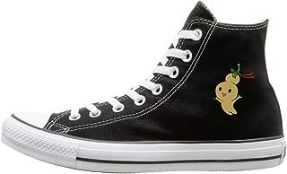 Aiguan Cartoon Doll Canvas Shoes High Top Sport Black Sneakers Unisex Style