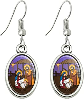 Nativity Scene Baby Jesus Mary Joseph Christmas Christian Bible Novelty Dangling Drop Oval Charm Earrings