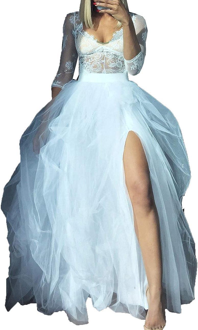 Women Hi Slit Tutu Maxi Dress Tulle Ruffle Mesh Lace Long Skirt Floor Length Layered Evening Dress Wedding Night Party Skirt