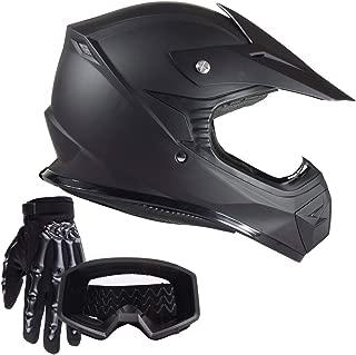Typhoon Youth Kids Offroad Helmet Gloves Goggles GEAR COMBO Motocross ATV Dirt Bike Motorcycle Matte Black L Large