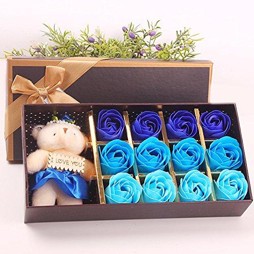 Menshow(メンズショウ) 母の日 花 熊のぬいぐるみ 石鹸の花 枯れない花 クマ付き 綺麗な花束 造花 ソープフラワー ローズフラワー 贈り物 誕生日 バレンタインデー 結婚 お祝い bear-lan