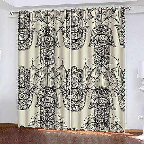 WLHRJ Cortina Opaca en Cocina el Salon dormitorios habitación Infantil 3D Impresión Digital Ojales Cortinas termica - 264x210 cm - Mano de Buda Pintada