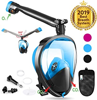 Full Face Snorkel Mask, Joso Snorkeling Mask with Newest Safe Easy Breath System, Longer 360° Rotation Tube Anti-fog 180° Panoramic Seaview Anti-Leak Dry Top Set, for Adults Diving Swimming Backstroke