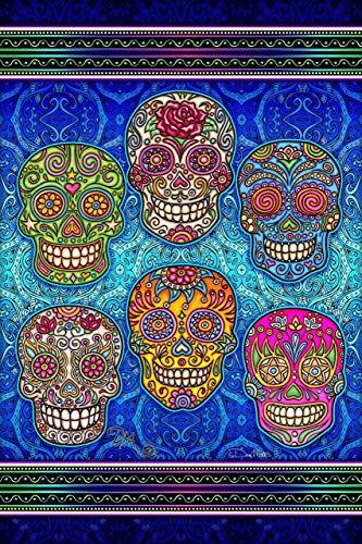 Sugar Skull Heads 3D Vertical Tapestry by Dan Morris