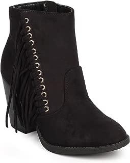 Women Suede Round Toe Fringe Western Ankle Bootie DF99 - Black