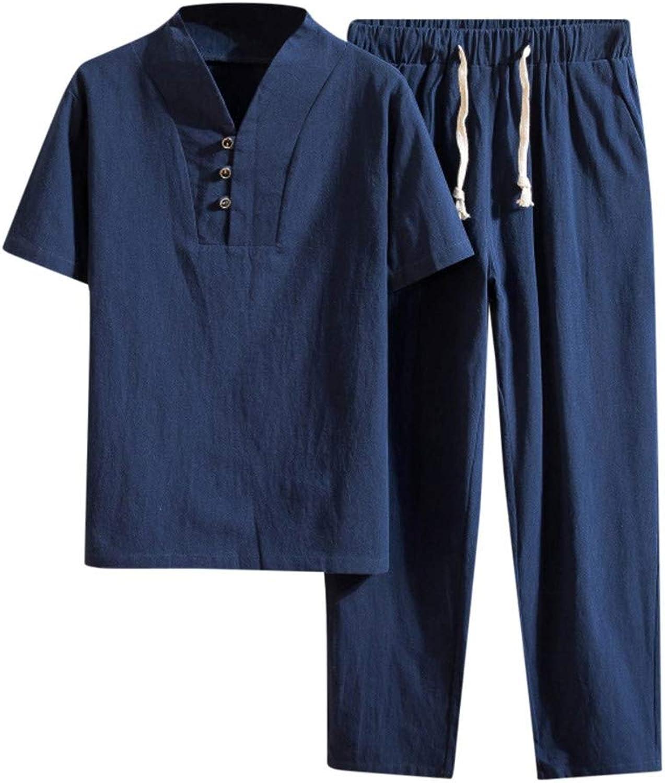 Casual Top Pant Sets for Men, Balakie Cotton Linen Pocket Solid Short Sleeve Retro Shirts Pants Suit
