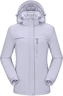 Women's Mountain Snow Waterproof Ski Jacket Detachable Hood Windproof Fleece Parka Rain Jackt Winter Coat