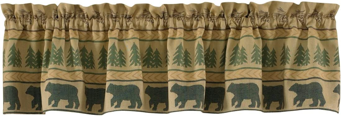 Amazon Com Park Designs Bear Tracks Lined Valance 60 X 14 Home Kitchen