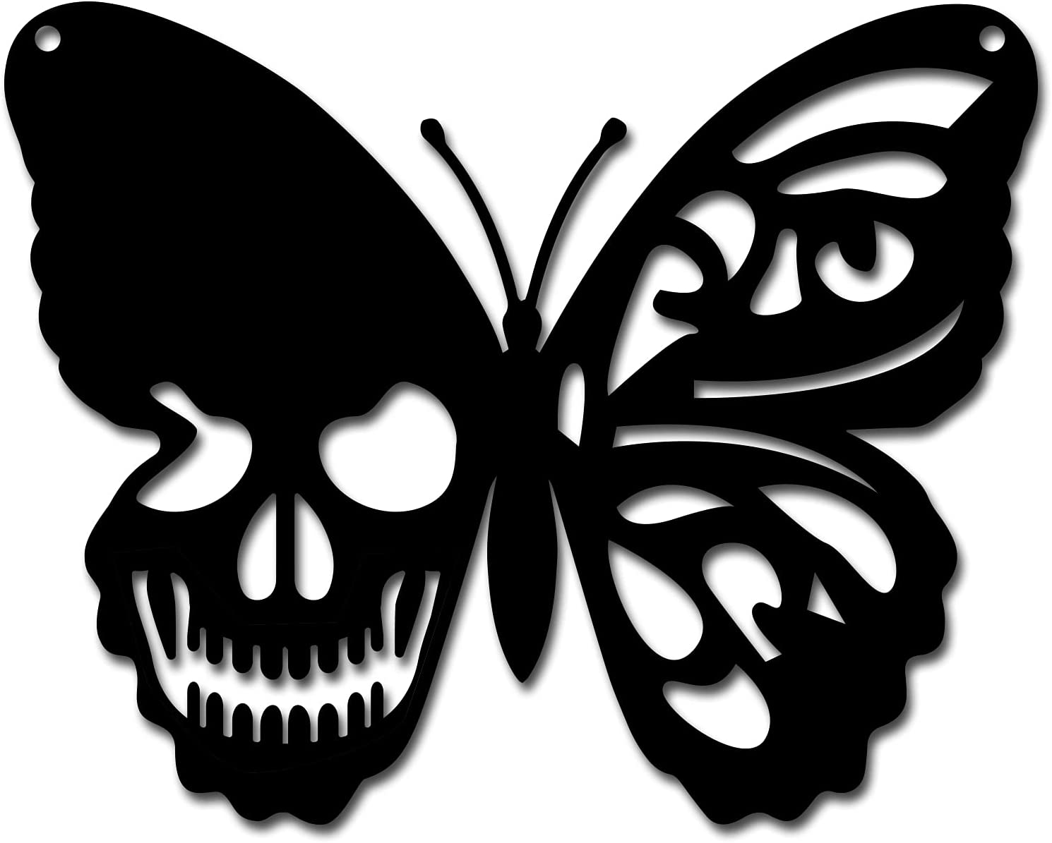 CREATCABIN Metal Wall Art Butterfly Skull Decor Wall Hanging Plaques Ornaments Iron Wall Art Sculpture Sign for Indoor Outdoor Home Livingroom Kitchen Garden Office Decoration Gift Black 6.3 x 7.9inch